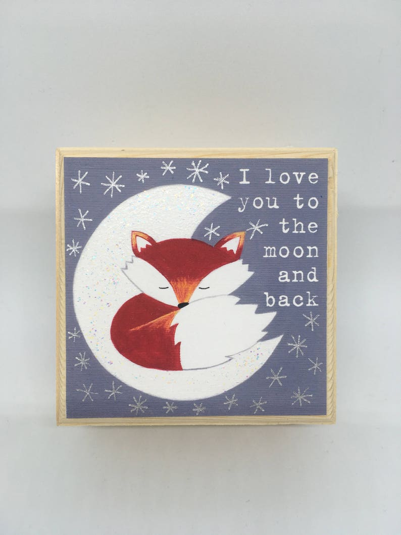 Fox Image Wooden Jewellery Trinket Box