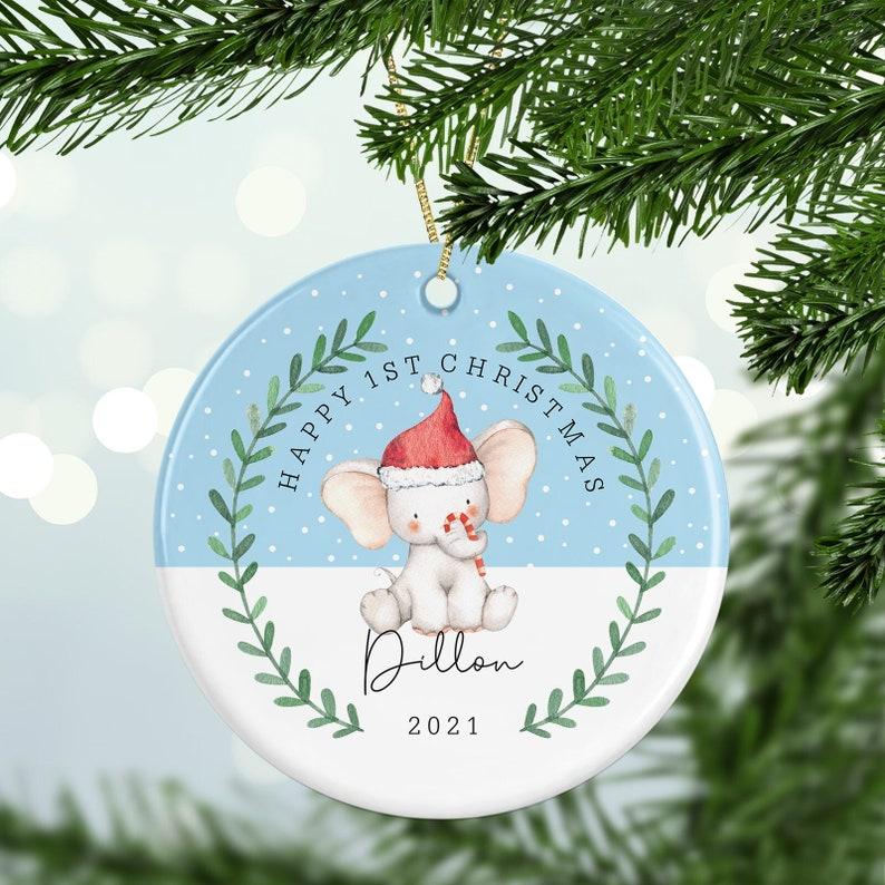 Personalised 1st Christmas Cute Elephant Decoration image 0
