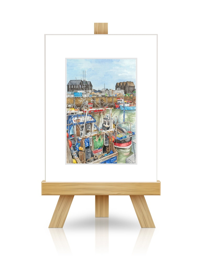 Whitstable  Whitstable Harbour  Small ACEO Mounted Print image 0