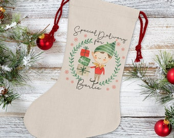 Personalised Boy Elf Christmas Stocking