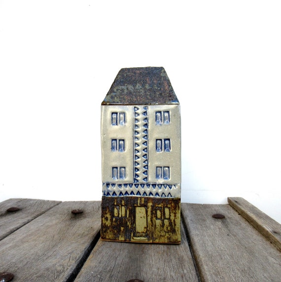 Tall Building Tiny Home Blue And White House Small Etsy