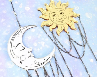 Laser Cut La Lune & Le Soleil Tarot Wall Hangings, Silver and Gold Mirror
