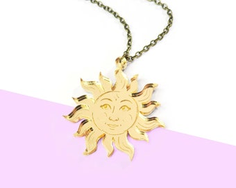 Laser Cut Le Soleil Tarot Small Necklace, Gold Mirror