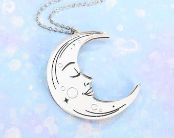 Laser Cut La Lune Tarot Necklace or Brooch, Silver Mirror