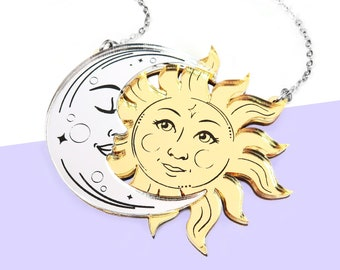 Laser Cut La Lune & Le Soleil Tarot Necklace or Brooch, Silver and Gold Mirror