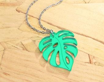 Laser Cut Monstera Leaf Necklace