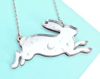 Laser Cut Bunny Necklace or Badge, Silver Mirror Acrylic