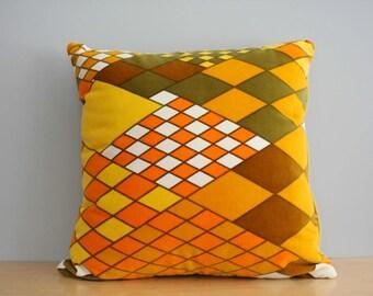 Geometric Yellow and Orange Vintage Textile Velvet Sofa Pillows, 1960s 1970s Pillows,  Mid Century Modern Pillows