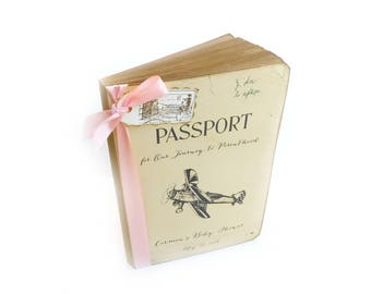 Travel Baby Shower Guest Book Custom Airplane Passport Sign In Gift Registry First Birthday Unisex Personalized