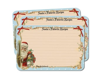 Holiday Recipe Cards, Santa's Favorite Recipes, Christmas Recipe Card Set, Cookie Exchange, 4x6, Pack of 12