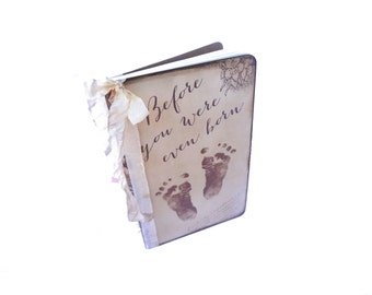 Pregnancy Journal, Baby Feet, Maternity Gift, Mom to be Diary, Baby Shower Guest Book, Pregnancy Gifts