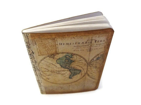 Items similar to Set of 3 Travel Journals, Old World Map ...