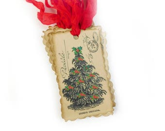 Christmas Tree Gift Tags, Country Rustic, Favors, Holly, Roses, Red, Vintage Style, Woodland, Holiday Hang Tags, Set of 10