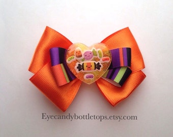 Orange Halloween Hair Bow