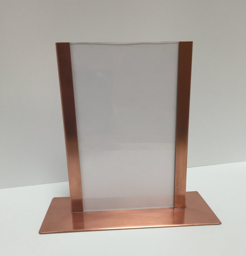 7th Anniversary Gift Menu Holder 5x7 Picture Frame Copper Picture Frame Copper Home Decor Post Card Display Horizontal Picture Frame