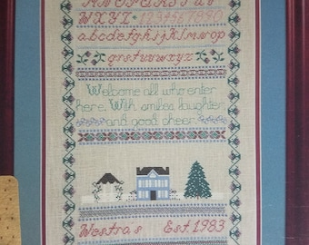 "Counted Cross Stitch Pattern ""Welcome Sampler"" by Willow Ridge"