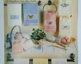 """Counted Cross Stitch """"Just Fingertips"""" Towels Bibs 1986"""