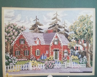 "Counted cross stitch pattern "" Red brick house at the corner"""