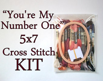 Cross Stitch KIT -- Number One sampler patterns with all materials necessary for stitching Frakes' face version