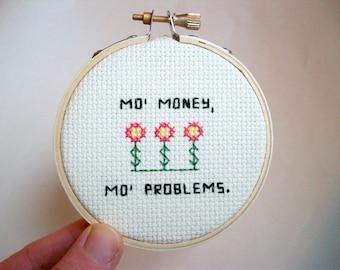 Mo Money cross stitch -- dolla dolla bill flowers in completed mini cross stitch