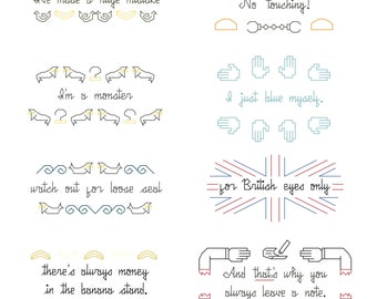13 Cross Stitch Patterns -- Band sampler of inspired minimalist motif patterns