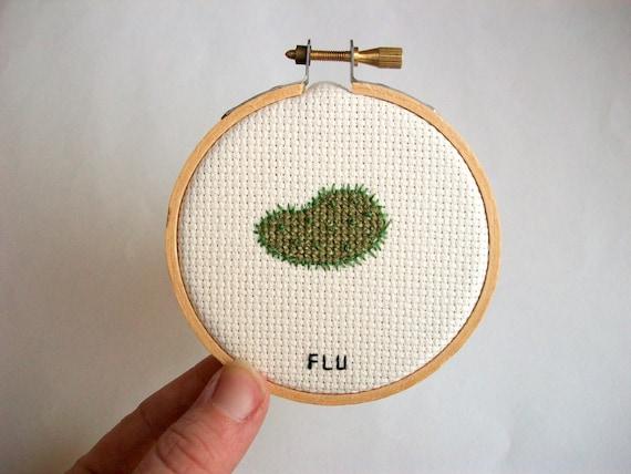 Flu microbe germ cross stitch microbial needlework | Etsy