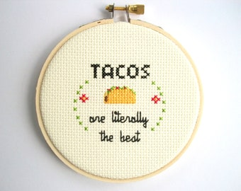 """Taco are literally the best cross stitch -- completed 3"""" cross stitch, delicious supreme taco, I love tacos, free shipping"""