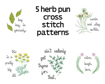 Cross Stitch Pattern Set -- 5 herb puns, thyme, dill, cumin, bay leaf, chive, counted cross stitch sampler