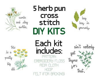 """Cross Stitch Mini Kits -- 5 pack of herb pun counted cross stitch kits, Ain't nobody got thyme for that, patterned to fit in a 4"""" round hoop"""