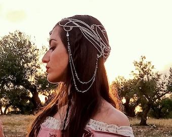 Elven circlet ANYEL customizable - silver gold crystal chain fairy tiara - medieval fantasy bridal crown, fairycore wedding headpiece