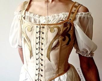 Corset MARGUERITE customizable- mesh corset stays, multiple colours- cottage core, renaissance bustier, crop corset top, bridal lingerie