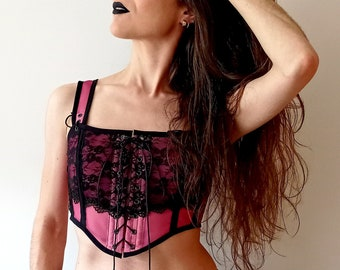 Crop corset MAGGIE customizable top- basic/lace overlay, many colour options - summer corset bustier, mesh bralette, short stays top