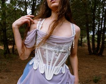 Corset stays CAROLINE ooak sample- mesh corset, lace, bead embroidery- bridal cottage core fairy renaissance corset 18th century short stays