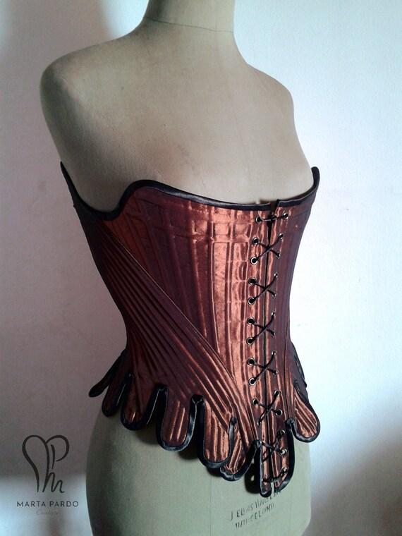 SALE sample corset - midbust 18th century stays in brick copper taffetta  with black accents - Standard Spanish size 38