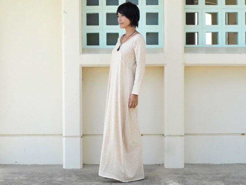 ddae2a6d1ce Robe à manches longues en chanvre coton jersey longueur maxi