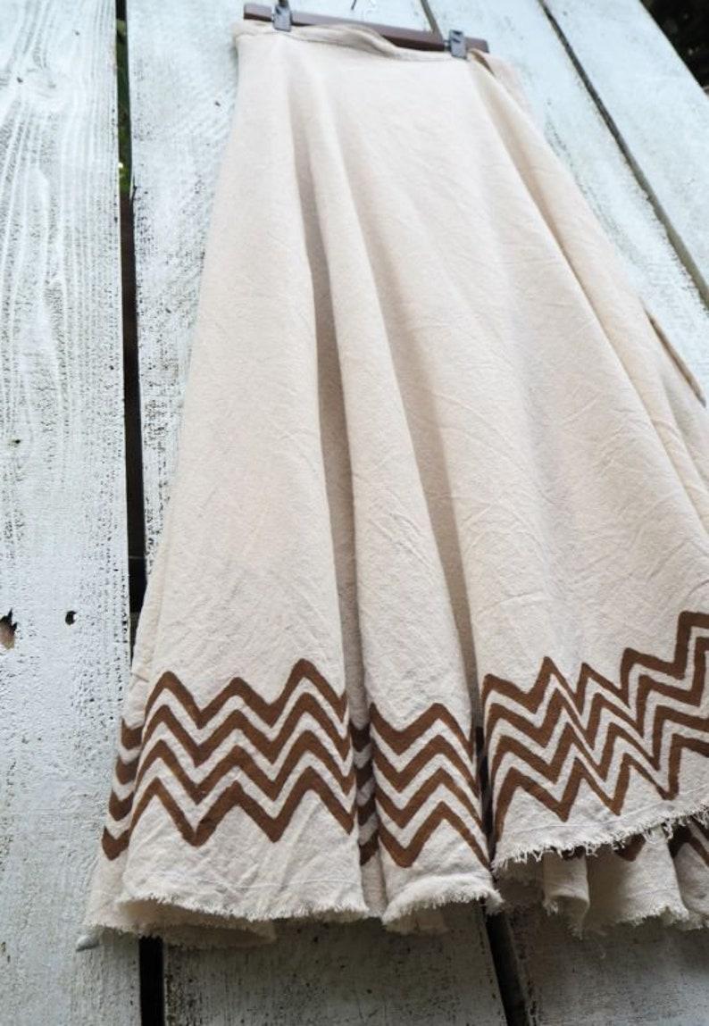 Cotton Wrap Skirt Earthy Manu Wrap Skirt with Tribal Block Print tribal skirt festival clothing block print skirt maxi wrap skirt