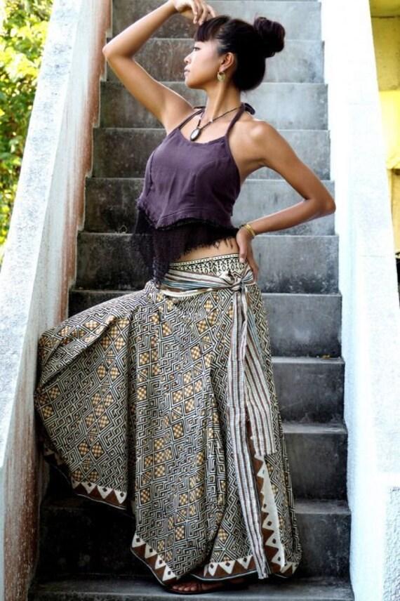 Boho dress way Hand dress maxi Bohemian skirt maxi made Cotton skirt summer Hand Two top Long block skirt skirt Bare printed and long skirt AzRx8wCq