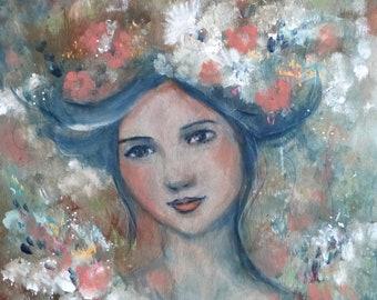 Romantic woman in pastel tones on wood 40 x40 cm Anna Romantica.
