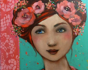 Romantic woman with pink flowers. The little pink garden 20 x20 cm.