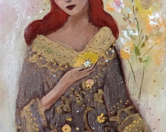 Red-haired Woman with Yellow Flowers.  A day of June 15 x 30 cm on wood