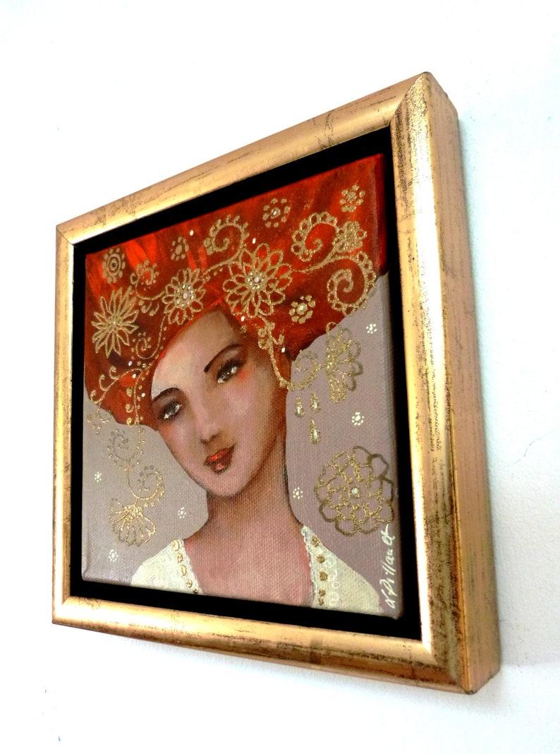 Peinture acrylique sur toile femme rousse et décor or. 15 x   Etsy