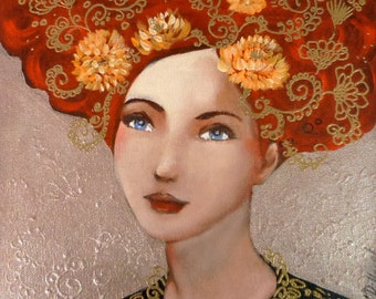 Portrait of a dreamy redheaded woman acrylic painting 25x25 cm.