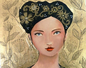 Brown woman icon on wood 20 x 20 cm. Distant perfumes..