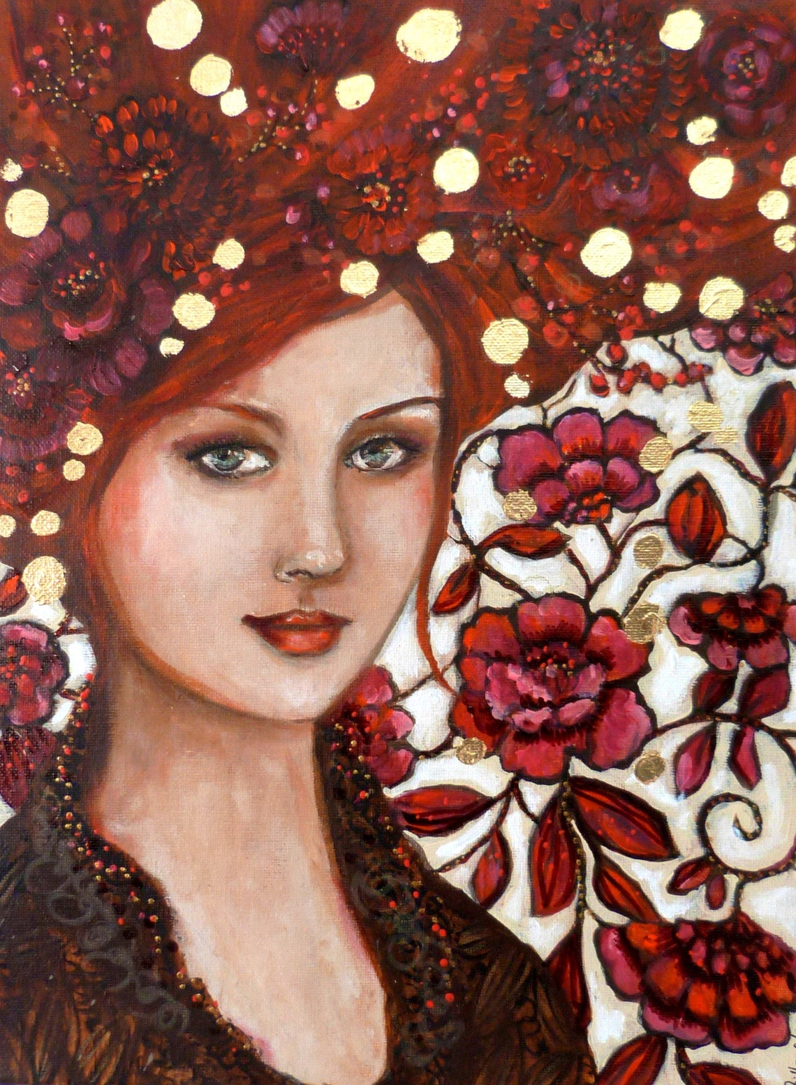Portrait of a redheaded woman with flowers. In the rose garden image 0