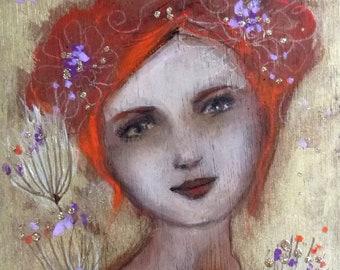 Romantic redheaded woman on wood. Sentimental 30 x 15 cm.