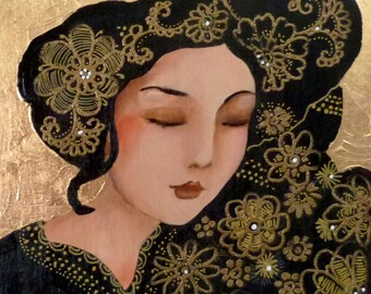 Sleeping woman icon on wood 20 x 20 cm .under my closed eyes.