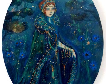 Woman portrait in blue and gold, spiritual style.Precious sentinel oval canvas 30x 40 cm.