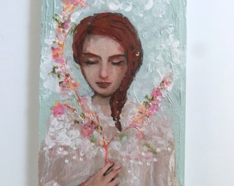 Red-haired woman with closed eyes wood painting 10 x20 cm