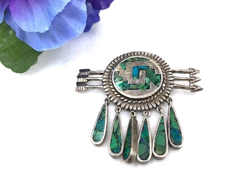 Pin-2048a-062019050 ? 925 Silver Brooch W Inlaid Turquoise Chips Three Arrows Dangle Teardrops -BroochNeck Signed Antonio HOEZ