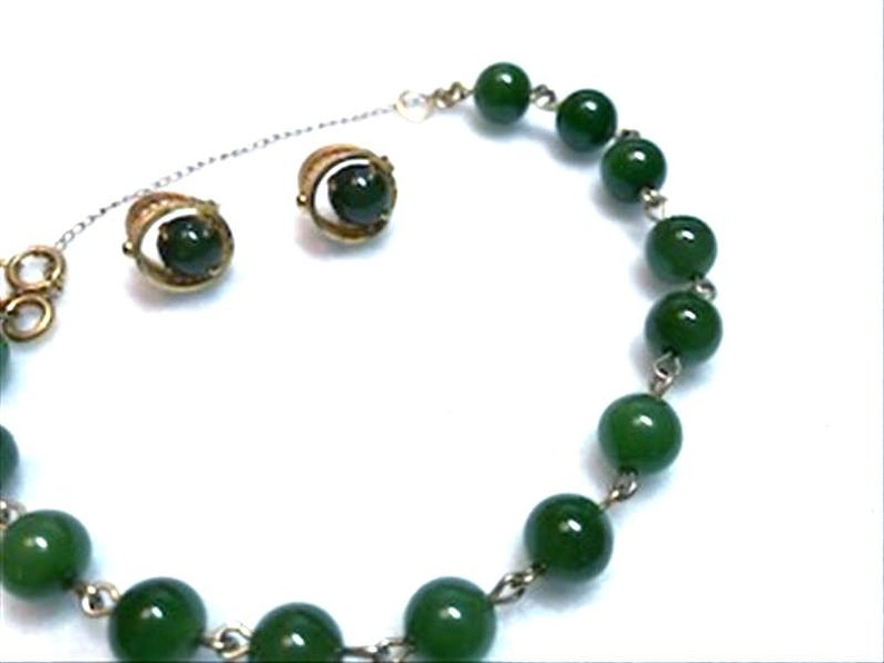 Bracelet and Earrings Set     Demi-1173a-040119030 Glorious Green Jade Demi Parure